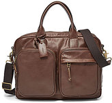 Fossil Defender Leather Double Zip Laptop Work Bag