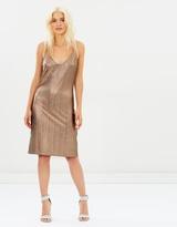 MinkPink Metallic Crinkle Slip Dress