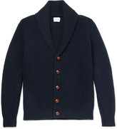 Kingsman - Shawl-collar Ribbed Wool And Cashmere-blend Cardigan