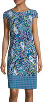 Liz Claiborne Cap-Sleeve Paisley-Print Shift Dress
