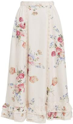 LoveShackFancy Navya Floral Silk Skirt