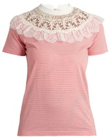 Miu Miu Lace-yoke striped cotton T-shirt