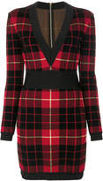 Balmain tartan knitted dress