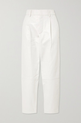 Anine Bing Becky Tapered Leather Pants - White