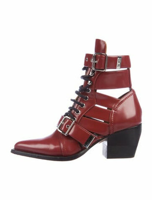 Chloé Leather Cutout Accent Lace-Up Boots Red