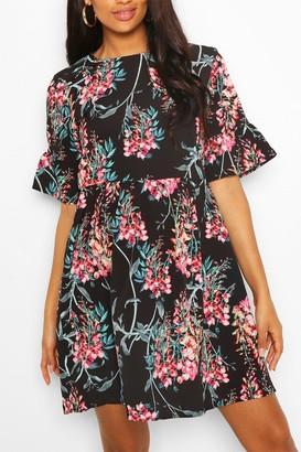 boohoo Maternity Satin Floral Print Smock Dress