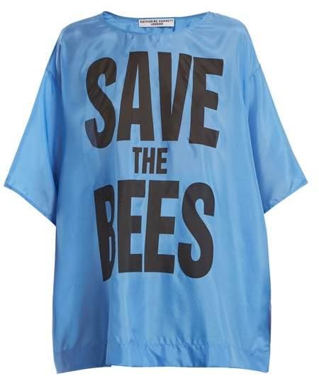 Katharine Hamnett Save The Bees Print Silk T Shirt - Womens - Blue