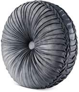 J Queen New York Colette Silver Tufted Round Decorative Pillow
