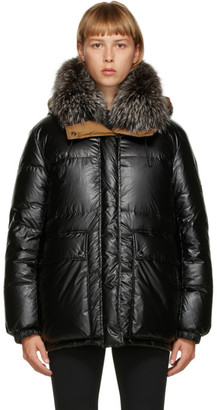 Yves Salomon Army Reversible Black and Brown Down Jacket