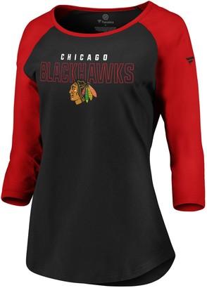 Women's Fanatics Branded Black/Red Chicago Blackhawks Iconic 3/4-Sleeve Scoop Neck T-Shirt