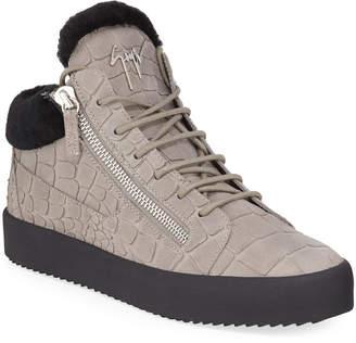 Giuseppe Zanotti Men's Crocodile-Print Shearling-Lined Leather Mid-Top Sneakers