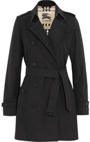 Burberry The Kensington Mid Cotton-gabardine Trench Coat - Navy
