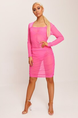I SAW IT FIRST Neon Pink Square Neck Ruched Side Mesh Mini Dress