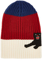 Gucci Men's Panther-Appliquéd Striped Wool Beanie-Blue