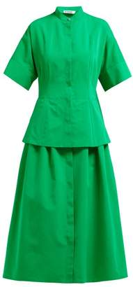 Jil Sander Peplum Hem Cotton Blend Dress - Womens - Green