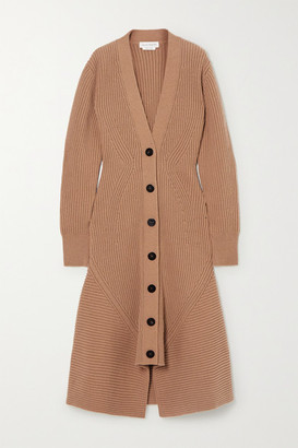 Alexander McQueen Ribbed Wool And Cashmere-blend Coat - Camel