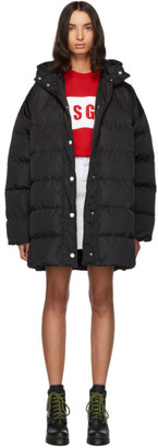 MSGM Black Down Hooded Coat