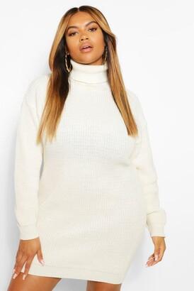 boohoo Pink Plus Roll Neck Sweater Dress