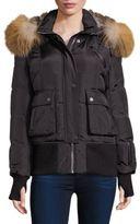Nicole Benisti Rabbit & Fox Fur-Trim Down Bomber Jacket