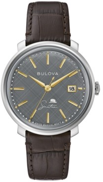 Bulova Men's Swiss Automatic Frank Sinatra Collection Brown Leather Strap Watch 40mm