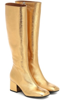 Marni Metallic leather knee-high boots