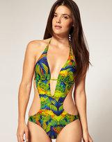 ASOS Leafy Tropical Print Cut Out Suit