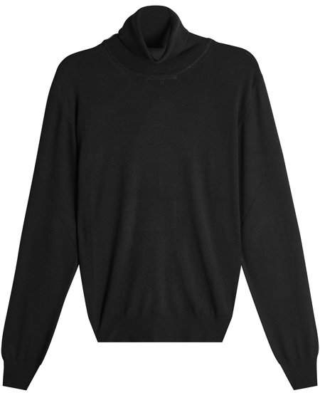 Maison Margiela Cotton-Wool Turtleneck Pullover with Suede Elbow Patches