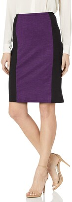 Star Vixen Women's Knee Length Slimming Colorblock Pencil Skirt with Back Slit