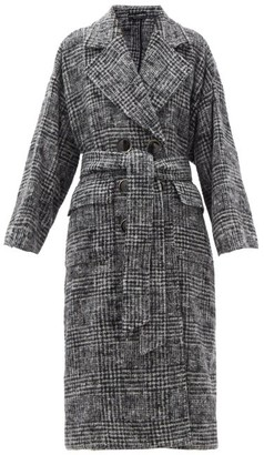 Dolce & Gabbana Belted Prince Of Wales-check Wool-blend Coat - Grey
