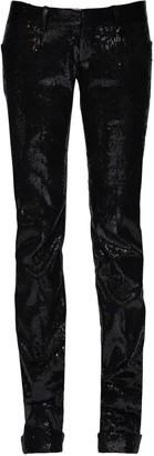 DSQUARED2 Sequined Pants W/ Satin Side Bands