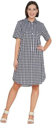 Joan Rivers Classics Collection Joan Rivers Regular Length Short Sleeve Button Front Gingham Dress