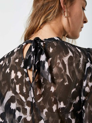 Mint Velvet Charlotte Animal Print Ruched Sleeve Top - Grey