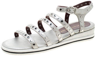 Marc by Marc Jacobs Metallic Silver Leather Gena Studded Ankle Strap Flat Sandals Size 36.5