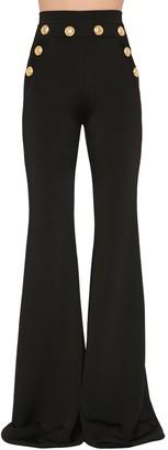 Balmain HIGH WAIST FLARED VISCOSE KNIT PANTS