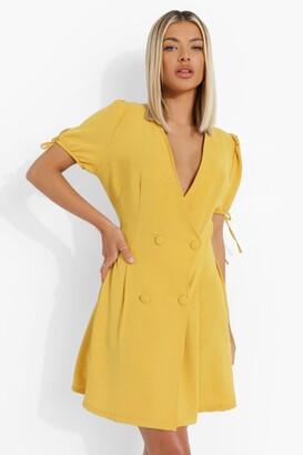 boohoo Linen Look Double Breasted Blazer Dress