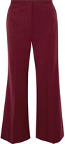 Rosetta Getty Cropped Wool-blend Twill Flared Pants - Burgundy