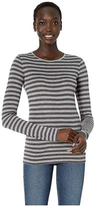 Vince Heather Stripe Long Sleeve Crew (Heather Dahlia Wine/Heather Marine) Women's Clothing
