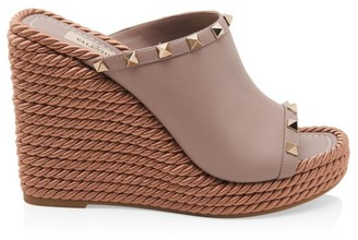 Valentino Rockstud Torchon Leather Wedge Mules