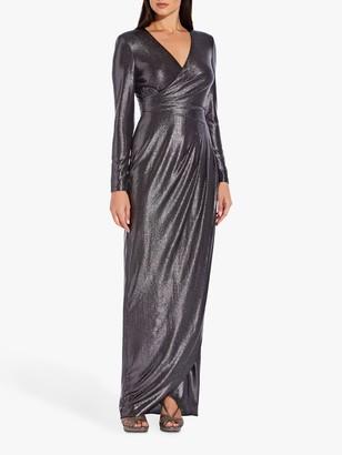Adrianna Papell Metallic Jersey Gown, Black/Gunmetal