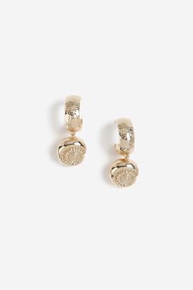 Topshop Shell Drp Hoop Earrings