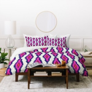 Deny Designs Holli Zollinger Ikat Pink And Navy Twin Duvet Set Bedding