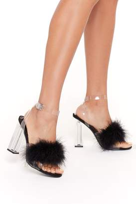 Nasty Gal Womens Go That Extra Mile Fluffy Clear Heels - black - 3