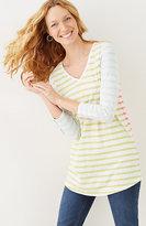 J. Jill Buttoned-Sleeve Striped Tunic