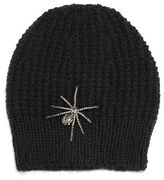 Jennifer Behr Crystal Spider Knit Beanie Hat, Black