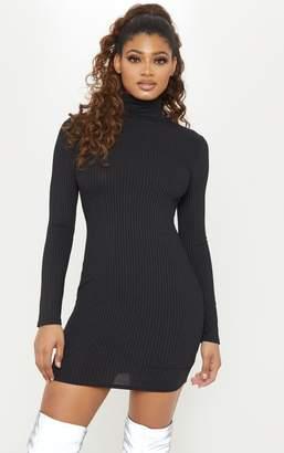 PrettyLittleThing Tall Black Rib High Neck Bodycon Dress