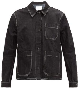 Ssōne Ssone - Craft Topstitched Organic Cotton-blend Jacket - Womens - Black