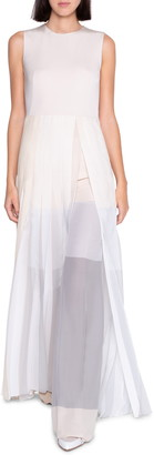 Akris Chiffon Mezzo Plisse Maxi Dress