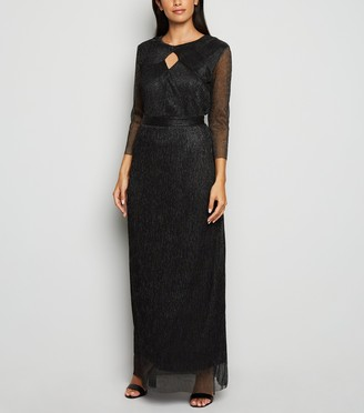 New Look Mela Plisse Shimmer Keyhole Maxi Dress