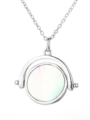 Mother of Pearl Rhodium Plated Sterling Silver Spinner Pendant Necklace