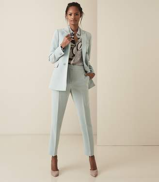 Reiss LAURA JACKET CREPE DOUBLE BREASTED BLAZER Soft Blue